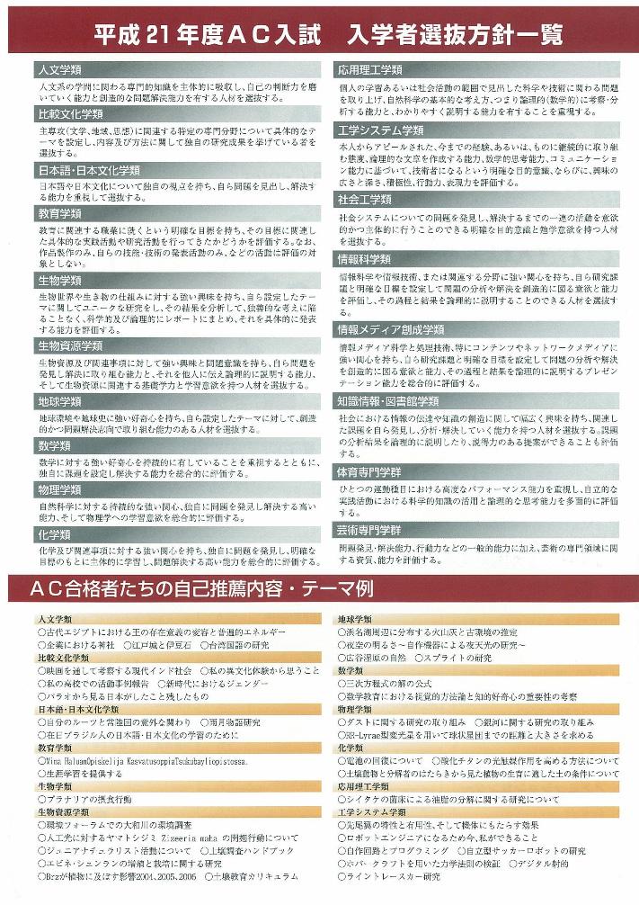 AC入試リーフレット 平成21年度版2