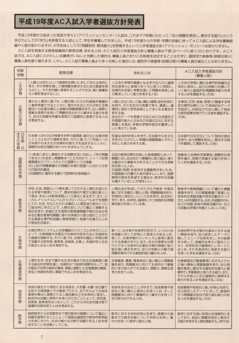 AC入試リーフレット 平成19年度版2