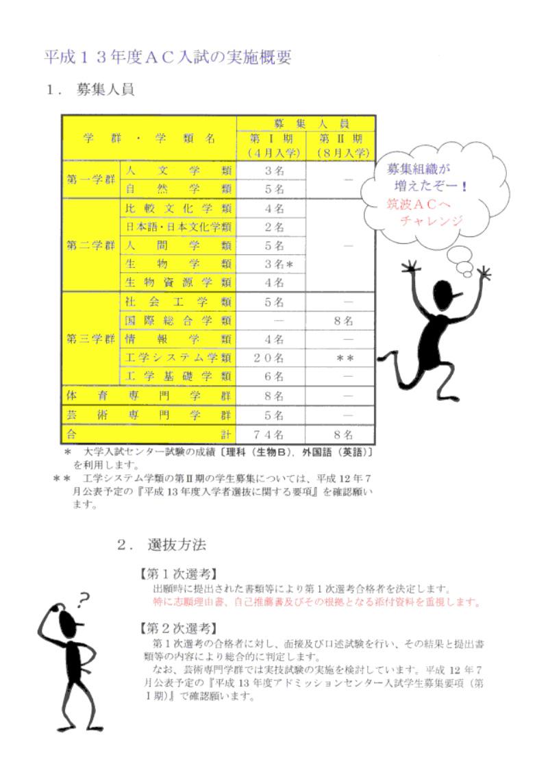 AC入試リーフレット 平成13年度版2