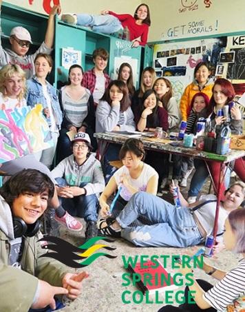 ニュージーランド高校留学 オークランド 公立高校 ウェスタンスプリングスカレッジ(Western Springs College)共学 私服 ホームステイ滞在 選択科目が豊富  ロゴ