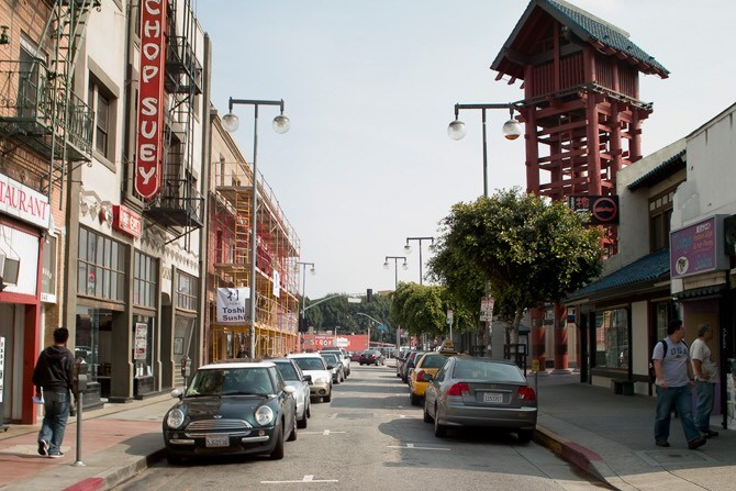 ロサンゼルスのダウンタウン中心にあるリトル・トーキョーの様子