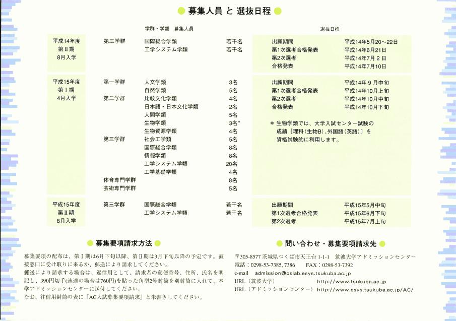 AC入試リーフレット 平成15年度版2