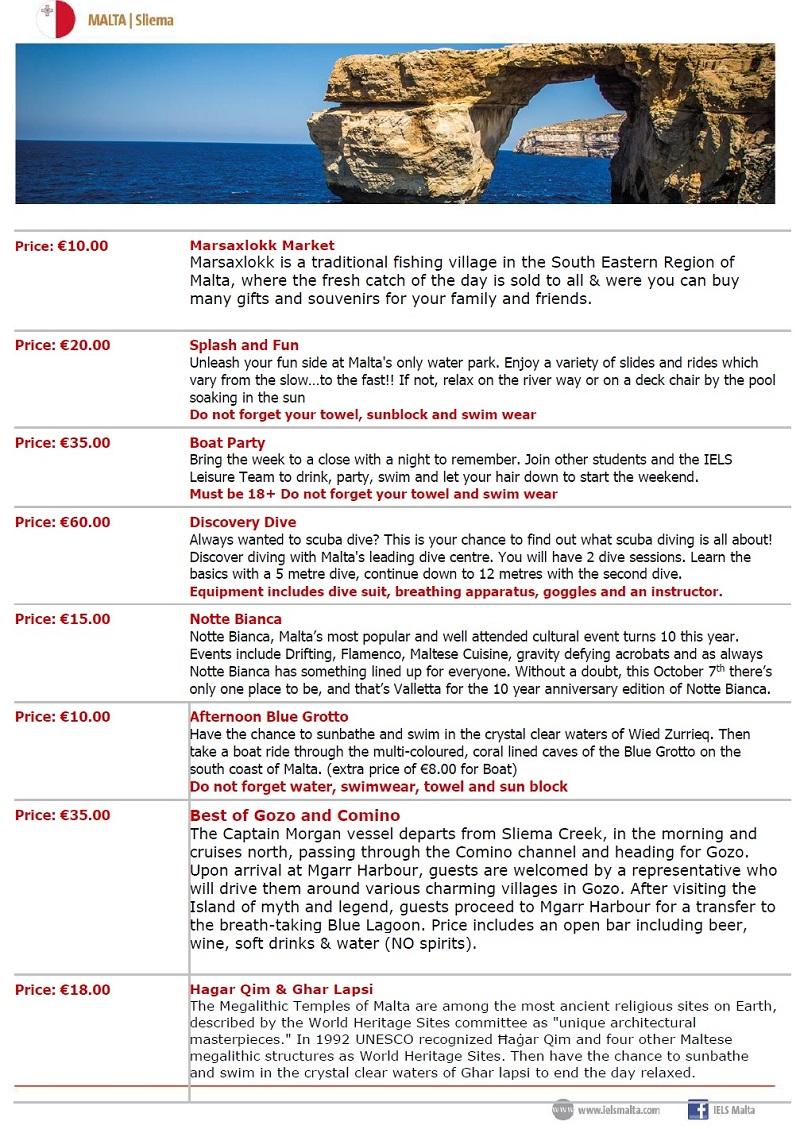 高校生の冬休み短期留学 16歳以上 マルタスリーマ ホームステイ 日本人少 日本人スタッフ ヨーロッパ多国籍 集中英語レッスン アクティビティ アイエルス IELS Malta アクティビティリスト