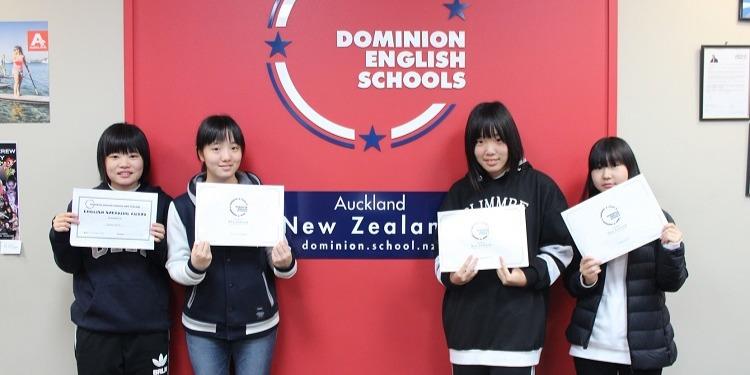 中学生高校生 冬休み短期留学 ニュージーランドオークランド 英語レッスン アクティビティ ホームステイ 日本人スタッフ Dominion English Schools ドミニオン 学校修了証