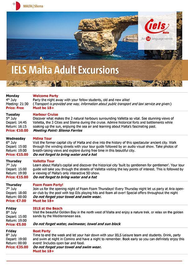 学生社会人シニア大人むけ短期長期語学留学 マルタ スリーマ 語学学校 IELSアイエルス サンプルアクティビティエクスカージョンスケジュール