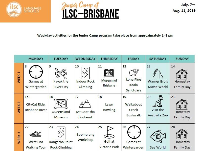 中中高校生 夏休み 短期 語学留学 オーストラリア ブリスベン 英語レッスン アクティビティ サンプル スケジュール カレンダー