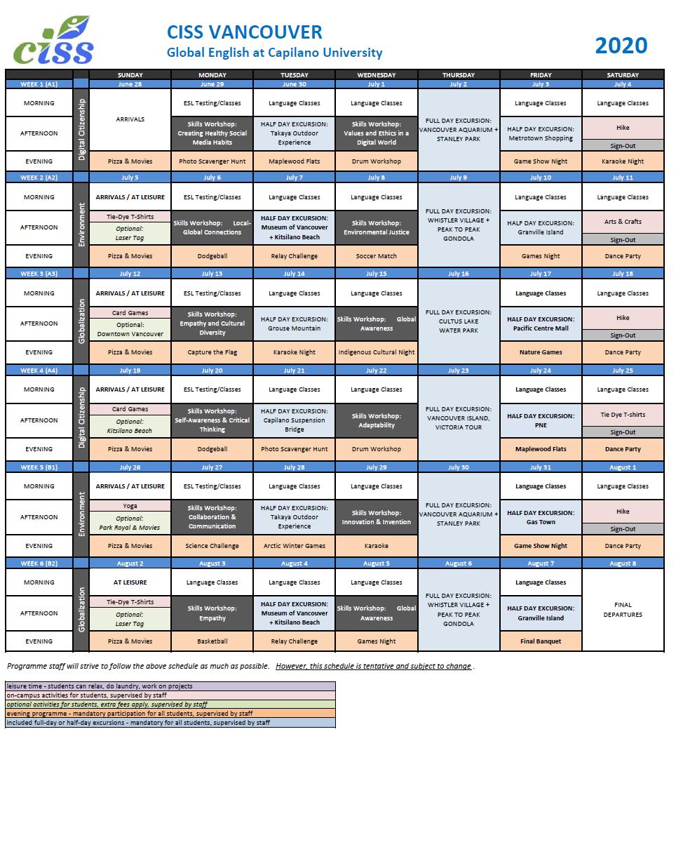 中学生高校生夏休み短期語学留学 カナダバンクーバー  サマーキャンプ 英語レッスン アクティビティ 学生寮 国籍ミックス スケジュール時間割