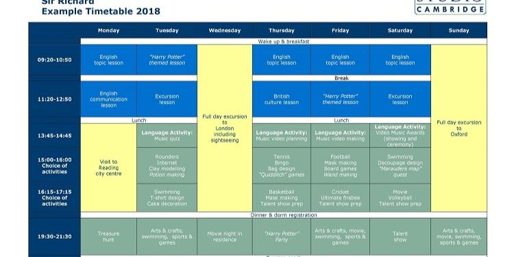 ISI国際学院ジュニア中高生の短期留学ケンブリッジサーリチャードスケジュール