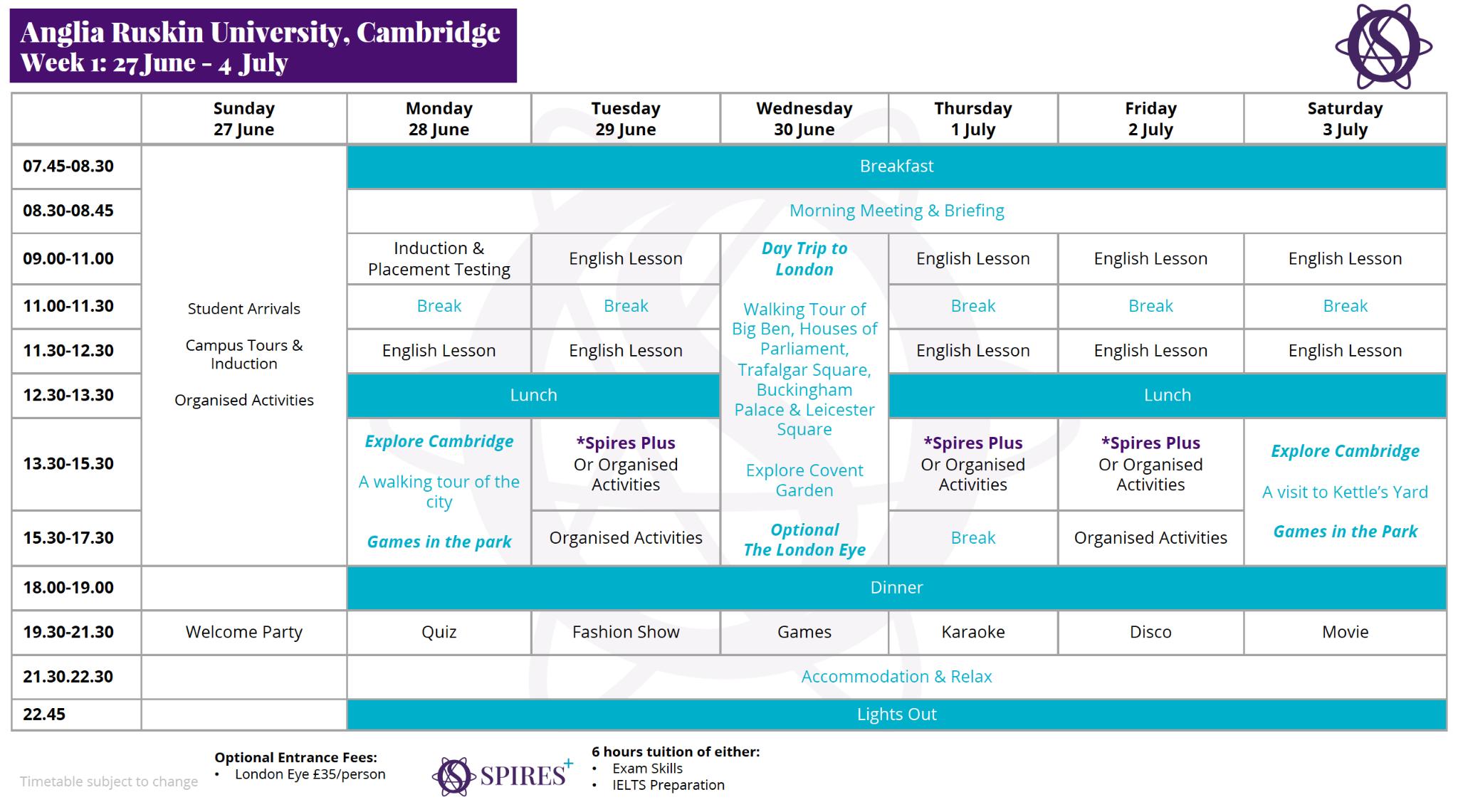 中学生 高校生 夏休み留学 短期留学 イギリス ケンブリッジ 英語+アクティビティ 大学寮 寮滞在