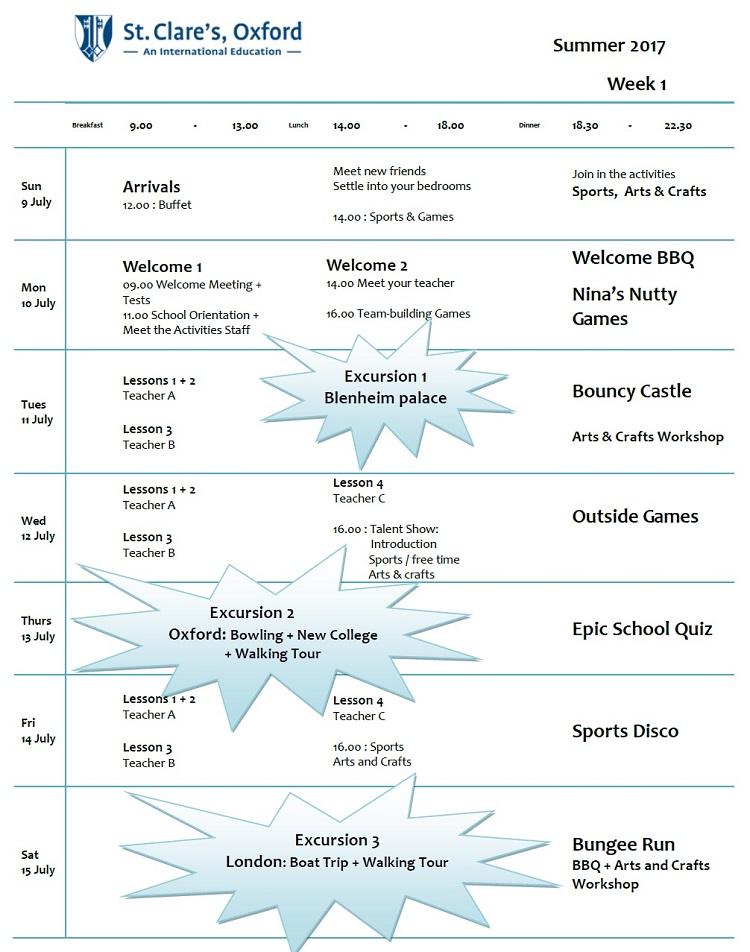【小中高生の夏休み留学】私立ボーディングスクールで質の高い英語レッスン+アクティビティ|イギリス・オックスフォード郊外(St Clare's Oxford)サンプルスケジュール