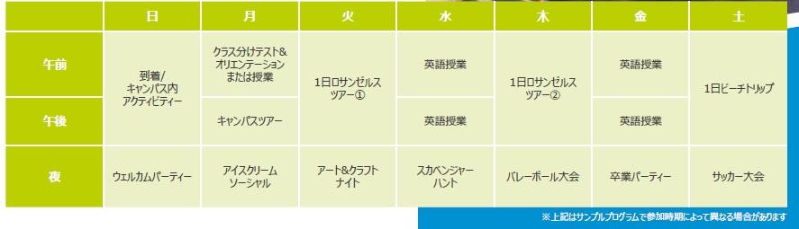 日本語サンプルスケジュール