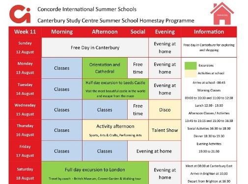 小学生中学生高校生 夏休み留学 イギリス・カンタベリー 実践英語とプレゼンテーション+アクティビティ 日本人スタッフ Concorde International ホームステイ サンプルスケジュール
