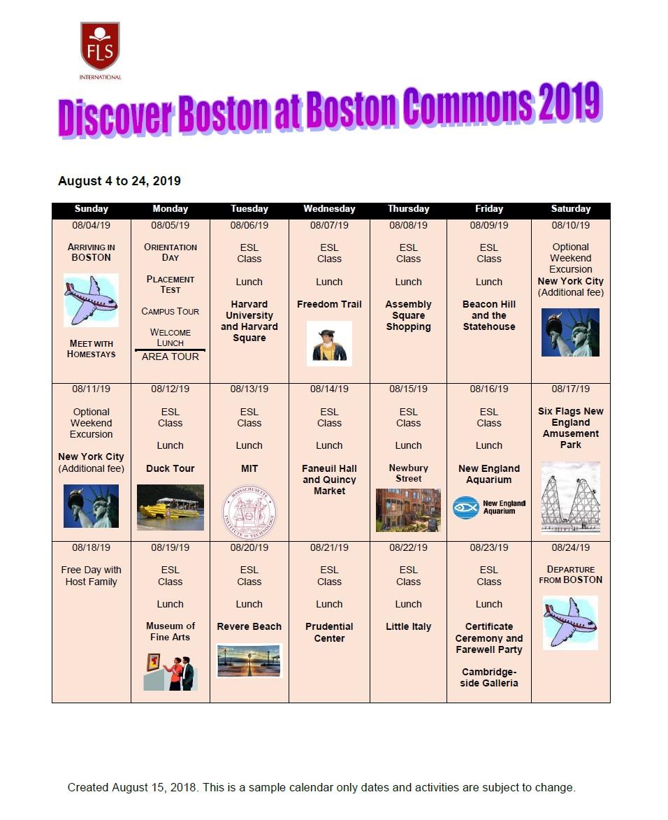 中高生むけ 15才以上夏休み留学 アメリカ・ボストン CEA認可英語コース+アクティビティ ホームステイ滞在 FLS International Discover Boston スケジュール