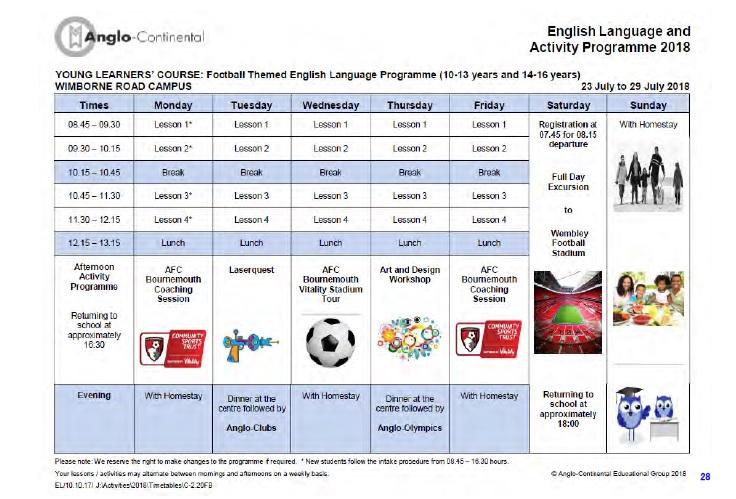中高生の夏休み短期留学 イギリス・ボーンマスの語学学校で英語レッスン+サッカー。滞在はホームステイ。Anglo-Continental主催 サンプルスケジュール