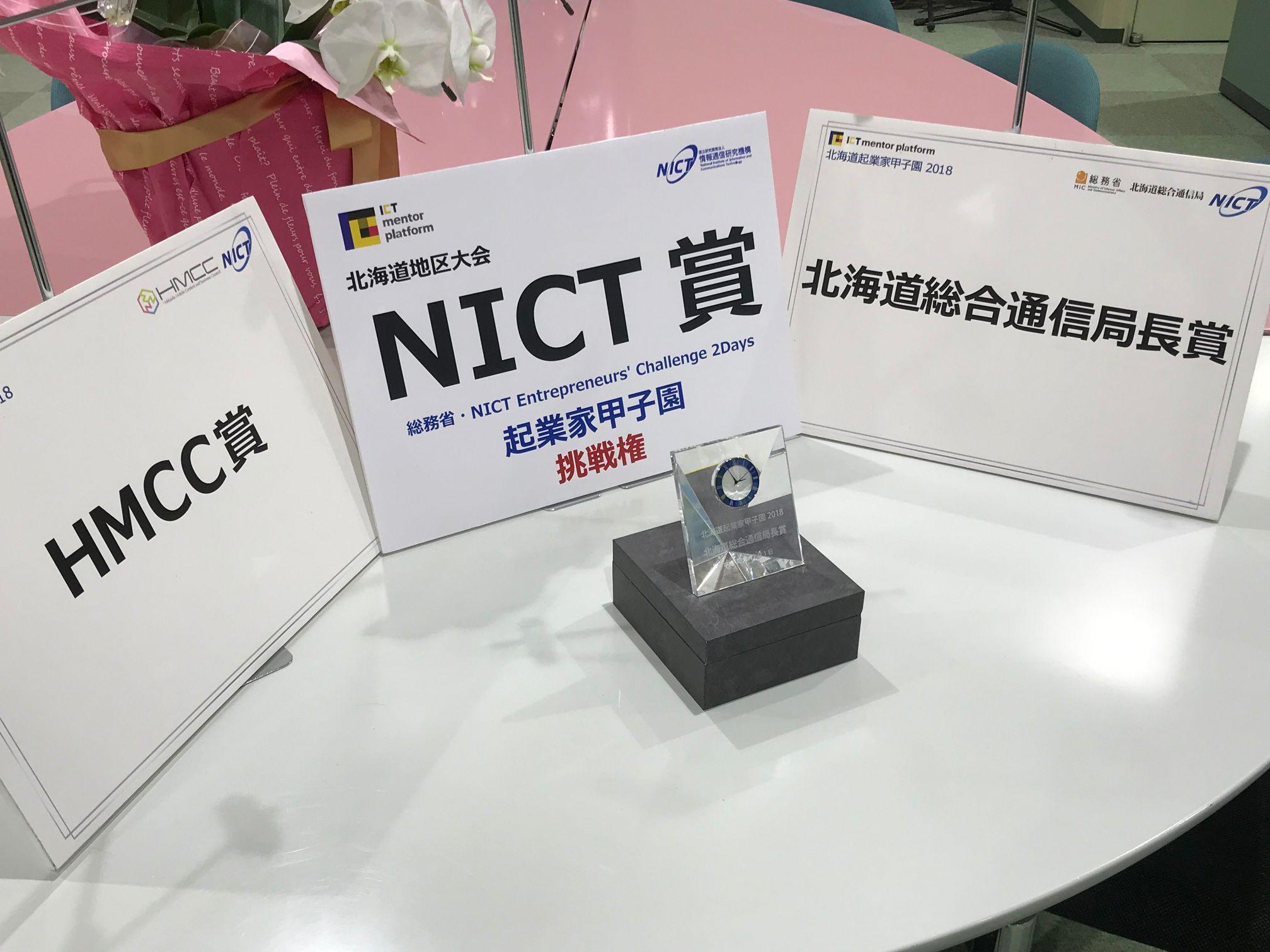 北海道起業家甲子園2018の表彰パネル