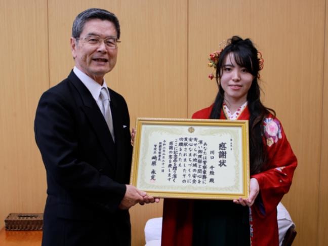 総合ビジネス学科学生の学習支援活動ボランティアが認められて沖縄県警より表彰を受けました