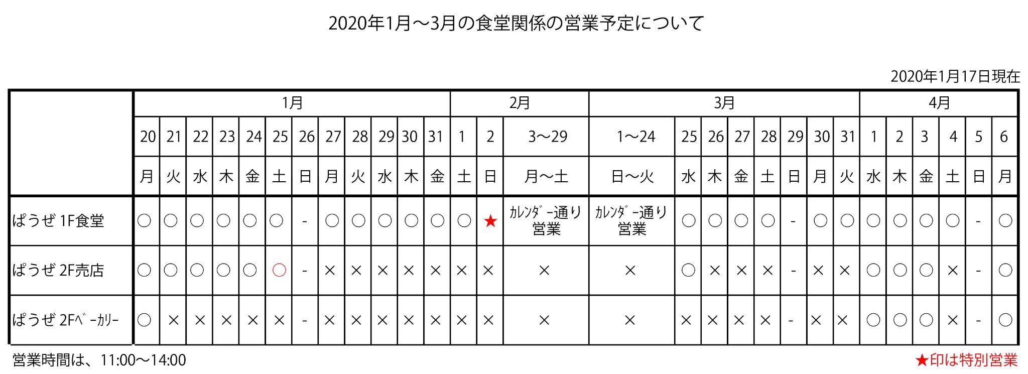 大阪音楽大学学生食堂営業予定について